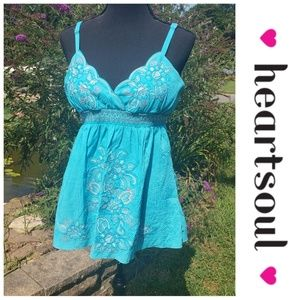 Heartsoul floral embroidered blue tank top XL NWT